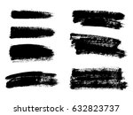 set of black paint  ink brush... | Shutterstock .eps vector #632823737