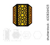 cut out template for lamp ... | Shutterstock .eps vector #632826425