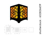 cut out template for lamp ... | Shutterstock .eps vector #632826659