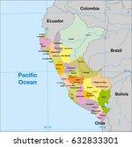 peru political map | Shutterstock .eps vector #632833301
