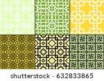 set of 6 geometric seamless... | Shutterstock .eps vector #632833865