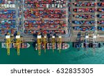 container ship in export and... | Shutterstock . vector #632835305