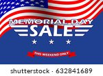 memorial day sale banner... | Shutterstock .eps vector #632841689