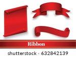 red ribbon on white background...   Shutterstock .eps vector #632842139