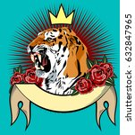 portrait of a tiger with a...   Shutterstock .eps vector #632847965