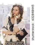 beautiful female model in white ... | Shutterstock . vector #632848445