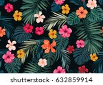 Stock vector seamless hand drawn tropical vector pattern with bright hibiscus flowers and exotic palm leaves on 632859914