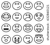 emoticons line icons. | Shutterstock .eps vector #632860121