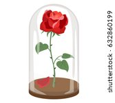 rose in a flask of glass on the ... | Shutterstock .eps vector #632860199