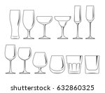 glasses and wineglasses set | Shutterstock .eps vector #632860325