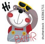 cute cartoon bear wearing... | Shutterstock .eps vector #632861711