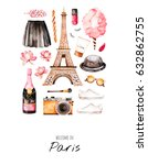watercolor fashion illustration.... | Shutterstock . vector #632862755