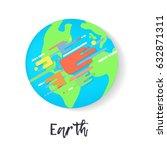 vector earth in flat design....   Shutterstock .eps vector #632871311