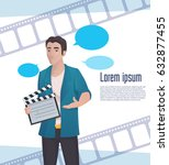 man video blogger with... | Shutterstock .eps vector #632877455