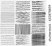 vector set of line grungy hand... | Shutterstock .eps vector #632878859