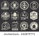 vintage coffee shop and cafe... | Shutterstock .eps vector #632879771