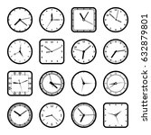 digital wall clock faces  time... | Shutterstock .eps vector #632879801