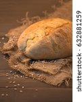 single bread on wooden...   Shutterstock . vector #632881259