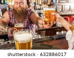 fat bartender holding beer in... | Shutterstock . vector #632886017