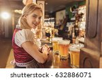 Small photo of Outgoing woman having job in alehouse