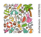 sea and summer. colorful set of ... | Shutterstock .eps vector #632887031
