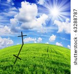Religious Cross On A Beautiful...