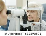 young female ophthalmologist... | Shutterstock . vector #632890571