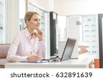 cheerful smiling female working ... | Shutterstock . vector #632891639