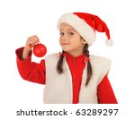 Little girl in Christmas hat with decoration ball, isolated on white - stock photo