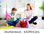 family cleaning house | Shutterstock . vector #632901161