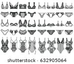 Stock vector collection of lingerie panty and bra set body vector illustrations 632905064