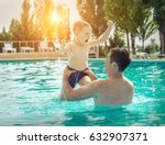 father and son funny in  water... | Shutterstock . vector #632907371