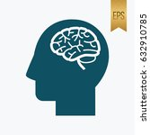 human brain icon. flat vector... | Shutterstock .eps vector #632910785