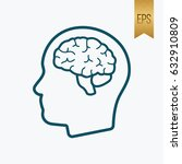 human brain icon. flat vector... | Shutterstock .eps vector #632910809