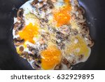 fried egg with cheese. a... | Shutterstock . vector #632929895