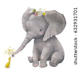 Stock photo cute elephant with floral wreath and little duck 632931701