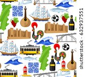 portugal seamless pattern.... | Shutterstock .eps vector #632937551