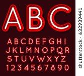 neon light glowing alphabet.... | Shutterstock .eps vector #632939441