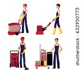 set of cleaning service boy ... | Shutterstock .eps vector #632950775