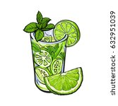 lime quarter  piece and glass... | Shutterstock .eps vector #632951039