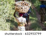 african woman with basket on... | Shutterstock . vector #632953799