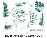 Watercolor tropical leaves set. Hand drawn exotic greenery isolated on white background. Botanical clip art. Summer plants illustration: banana tree, palm, sprout, monstera