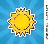 vector illustration. cute sun.... | Shutterstock .eps vector #632955395