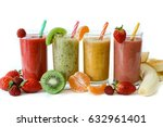 four different smoothies of... | Shutterstock . vector #632961401