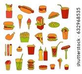 fast food big vector set.... | Shutterstock .eps vector #632968535