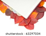 notebook on red leafs | Shutterstock . vector #63297034