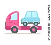 pink tow truck  service of... | Shutterstock .eps vector #632970995
