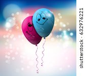 blue and pink balloon with... | Shutterstock .eps vector #632976221