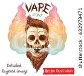 a brutal hipster's skull in... | Shutterstock .eps vector #632978471