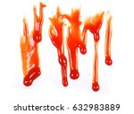 red ketchup splashes isolated... | Shutterstock . vector #632983889